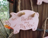 Pink Pig Ornament 'Pardon My Pig Sty' Sgraffito Inscribed Pottery Clay