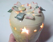 Small Lamp Star Cutouts Dogwood Pottery Nightlight Handmade Yellow White Pink Green