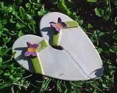 Purple Butterfly Clay Flip Flops Sculpture Lime Green Think Summer