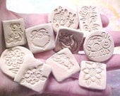 FUN Designs DIY Bisque Clay STAMPS Decorative Set of 10 Assorted Designs Ready to Use