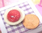 Red Cherry Pie Teeny Tiny Dollhouse Scale FAKE Food Pottery Clay TeamMIDS