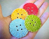 4 Large Colorful Accent Buttons Aqua Lime Red Orange Porcelain for Cowl Scarf Pocketbook, etc.