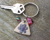 Pottery KeyChain Purple Flower Red Butterfly Charm Green Bead Zipper Fan Pull
