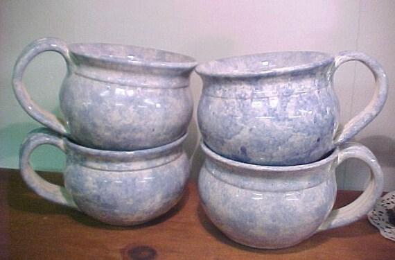 4 Large Soup Cups Mugs Bowls Cloud Blue Spongeware on Bright White