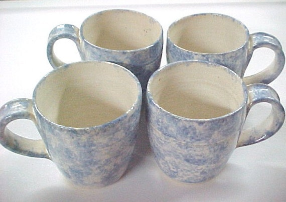 4 Coffee Tea Cups Cloud Blue Spongeware Handmade Pottery Bright White Interior