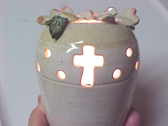RESERVED Order for Amy CUSTOM Christian Cross Design Dogwood Small Table Lamp
