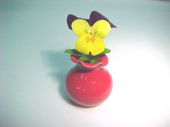Bold Scarlet Red Mini Pottery Vase Miniature but NOT 1 12 Dollhouse Scale