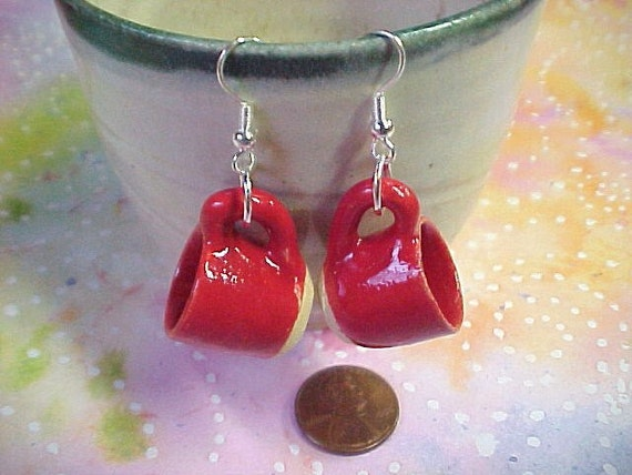Bright Bold Red Teacup Earrings Unique Mother's Day Gift Mini Clay Wheel thrown Stoneware