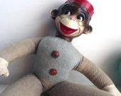 Vintage 50s Monkey Doll. Circus Monkey. Organ Grinders Monkey