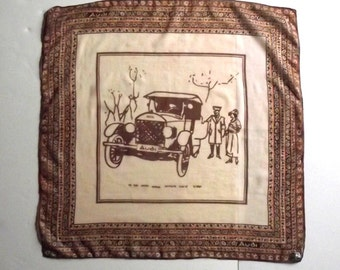 Audi Type E Lehner Kerchief  Scarf Vintage Kerchief for Car Lovers 26 x 26 Rare Hard to Find