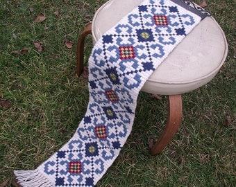Swedish Wall Hanging / Vintage 80s Textile Art / Blue White Ethnic Decor