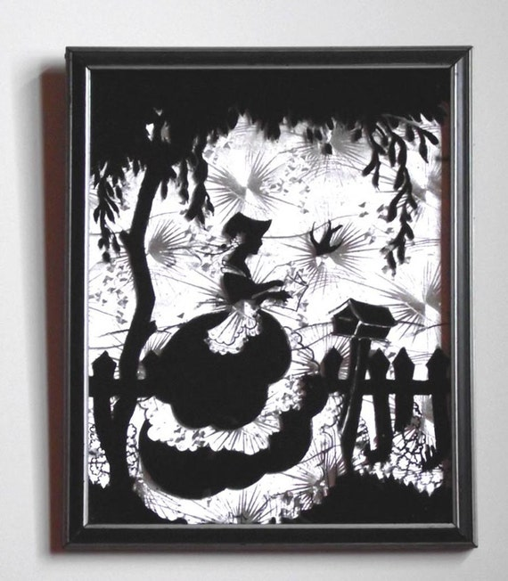 Love Letter Vintage Painted Glass Silhouette