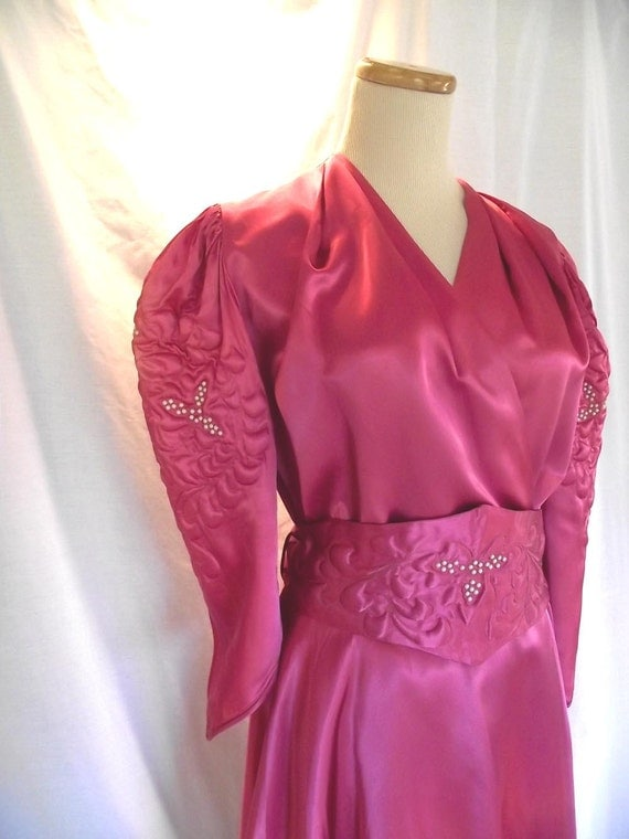 SALE 1940s Lounge Outfit Satin Tunic Dress Matching Wide Cut Pants Sz S to Sz M Costume
