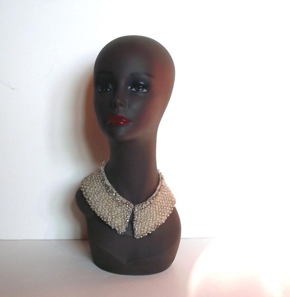 50s Beaded Collar. Vintage Faux Pearl Beaded Collar. 1950s Accessory.