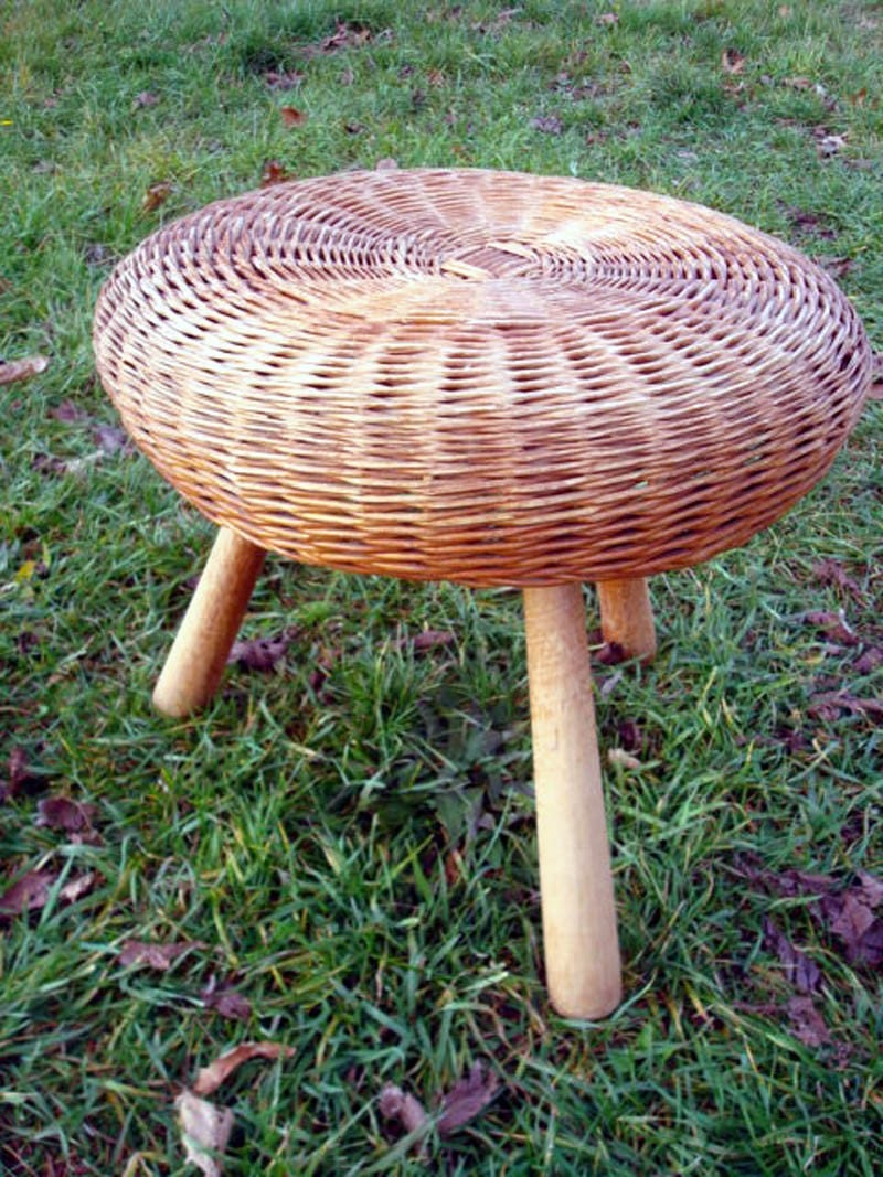 Vintage Wicker Rattan Stool 3 Legged Stool