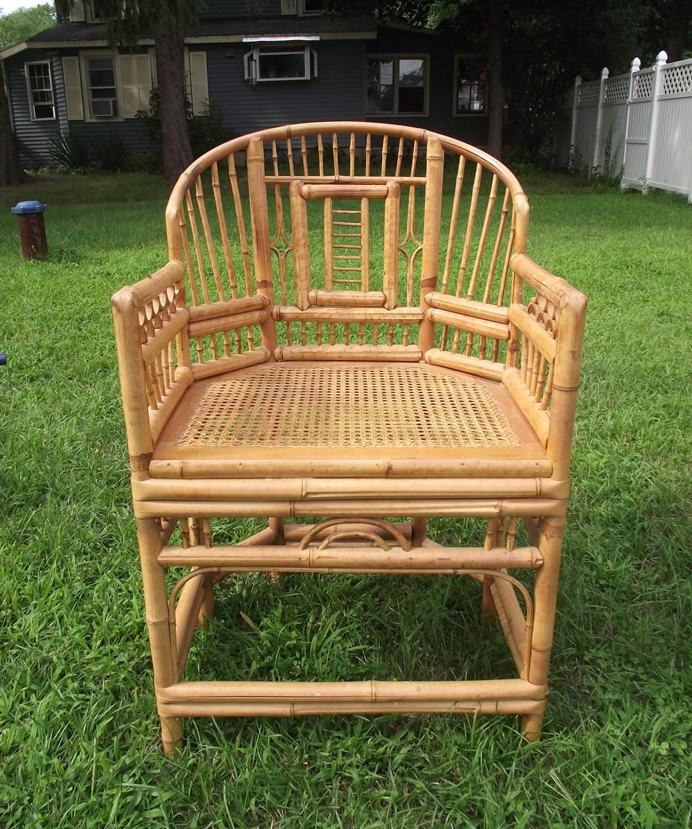 Vintage 70s boho bamboo chair excellent side chair puo for Vintage 70s chair