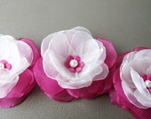 3 pcs.  Roses with Fuchsia and Ivory Organza Fabric