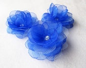 3 pcs. Roses with Royal Blue Organza and Light Blue Tulle Fabric