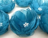 9 pcs-Flowers with Teal Organza Fabric,Bridal Supplies