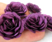 5 pcs. Roses with  Purple Satin Fabric