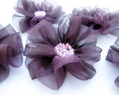 6 pcs- Flowers with Dark Plum Organza Fabric