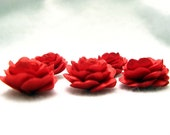 5 pcs. Roses with  Satin Fabric in Red