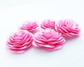 5 pcs. Flowers with  Pink Satin Fabric- for accessories