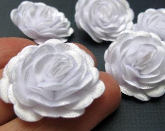 10 pcs. White Flowers ,Satin Fabric Flowers, White Wedding, Party Decor, Jewelery Suplies