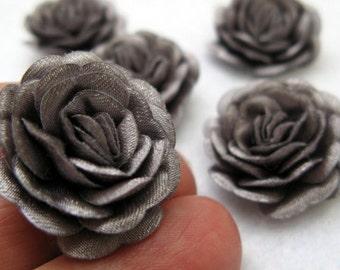 Set of 50 pcs. Flowers,  Gray  Fabric Flowers, Scrapbooking, Jewelry Making Supplies, Wedding Buket Supplies, Decorating Projects,OOAK