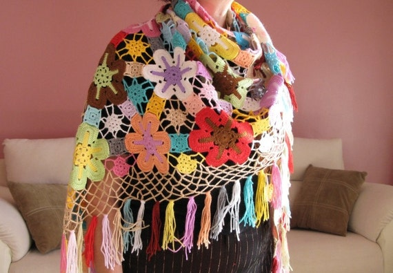 RESERVED for  Ana-----Great Colored Flowers- Crocheted Triangle Shawl.. -- OOAK - Nr.03