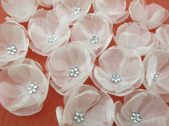 20 pcs-Mini Flowers with Ivory Organza -  for wedding, home decor, hair, cloths, bags, pillows accessories