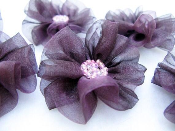 6 pcs- Flowers with Dark Plum Organza Fabric
