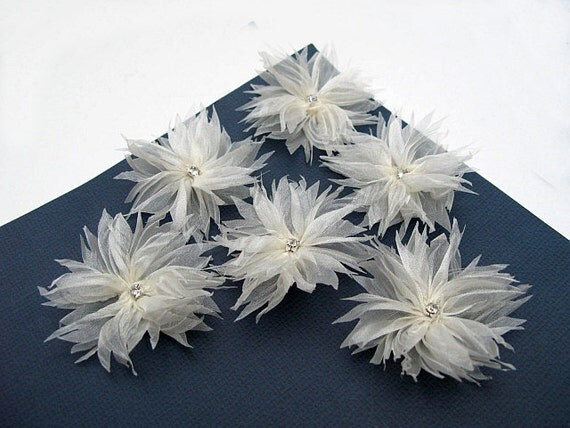 6 pcs. Flowers with  Ivory  Organza Ribbon