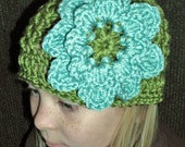 Hand Crocheted X-St Beanie with a Layered Flower
