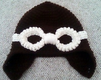 Hand Crocheted Aviator Hat w/Goggles