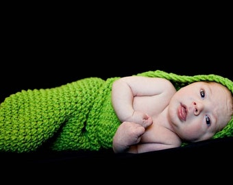 Hand Crocheted Hooded Cocoon
