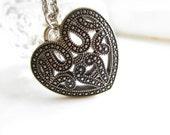 Vintage Style Love Heart Pendant Necklace