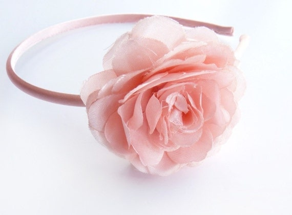 SALE Natalie - Silk Floral Headband in Pink