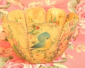 Vintage Paper Basket Made From Greeting Cards
