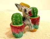 Vintage Pottery Donkey Salt And Pepper Set