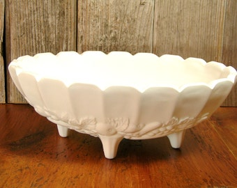 Oval Milk Glass Centerpiece Bowl Indiana Glass Company