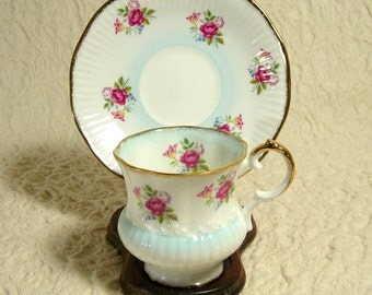 Vintage Light Blue English Cup and Saucer