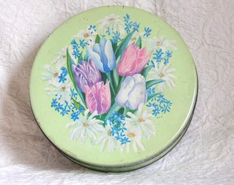 Vintage Tin with Floral  Bouquet