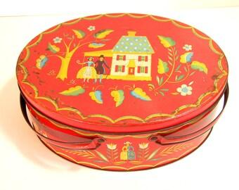Orange Oval Folk Art Tin Box With Handles, Vintage Tin Box