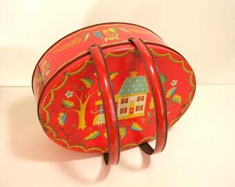 Folk Art Tin Box With Handles, Vintage Orange Oval Tin Box