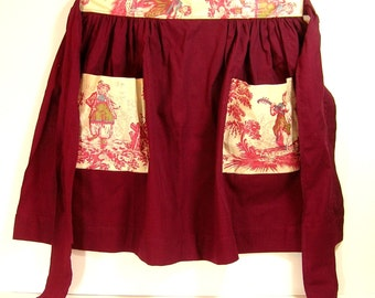 Hostess Apron, Half Apron, Burgundy Cotton With Toile Pockets