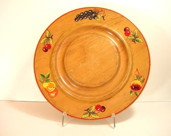 Vintage Wood Tray With Hand Painted Fruit