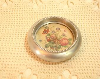 Vintage Aluminum  Coaster With Cottage Style Floral Design