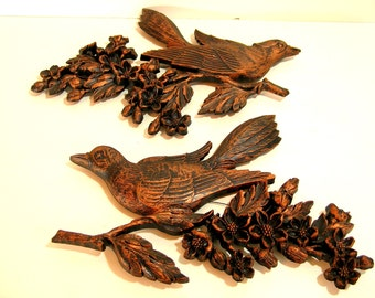 Vintage Bird On A Branch Wall Decor Set Of Two