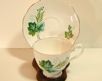 Teacup and Saucer with Green Leaves - Taylor And Mert - English Bone China